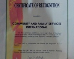 CFSI recognized for post-typhoon efforts in Guiuan