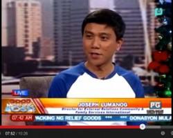 CFSI's post-typhoon humanitarian relief efforts featured on talk show